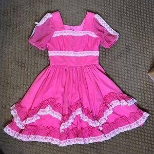 Vtg Party Pageant Swing Dance Prairie Ruffle Dress